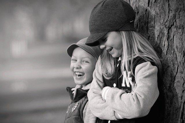 děti, strom, smích