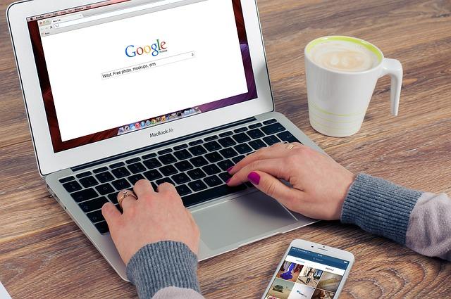 káva, mobil, ruce, notebook, google
